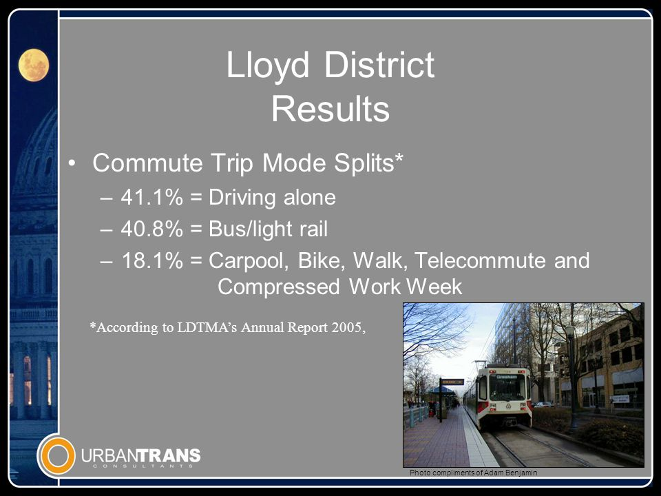 Lloyd District Results Commute Trip Mode Splits* –41.1% = Driving alone –40.8% = Bus/light rail –18.1% = Carpool, Bike, Walk, Telecommute and Compressed Work Week Photo compliments of Adam Benjamin *According to LDTMAs Annual Report 2005,