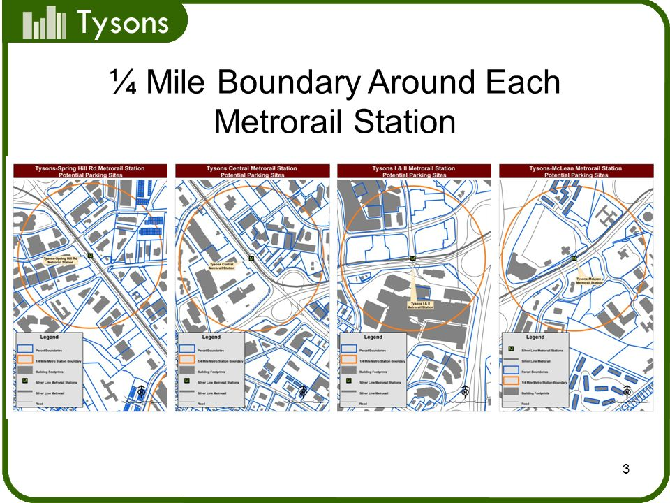 Tysons 3 ¼ Mile Boundary Around Each Metrorail Station