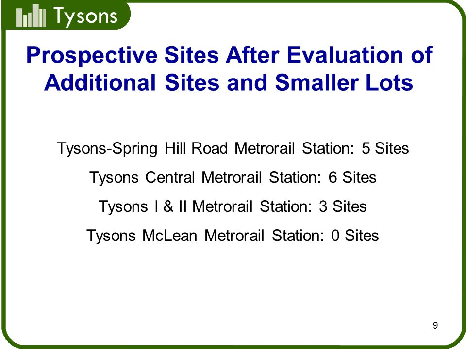 Tysons 9 Prospective Sites After Evaluation of Additional Sites and Smaller Lots Tysons-Spring Hill Road Metrorail Station: 5 Sites Tysons Central Met