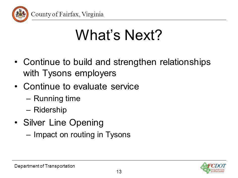 County of Fairfax, Virginia Whats Next.