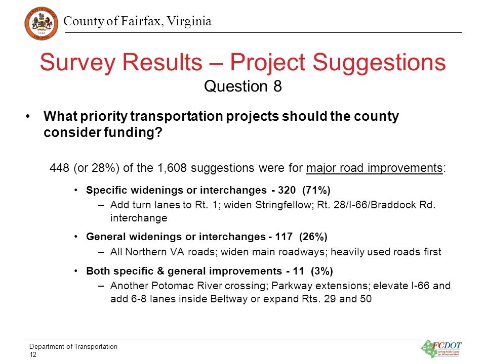 County of Fairfax, Virginia Survey Results – Project Suggestions Question 8 What priority transportation projects should the county consider funding.