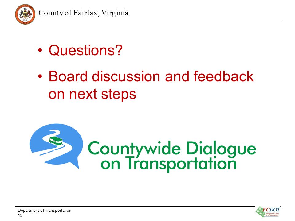 County of Fairfax, Virginia Questions.