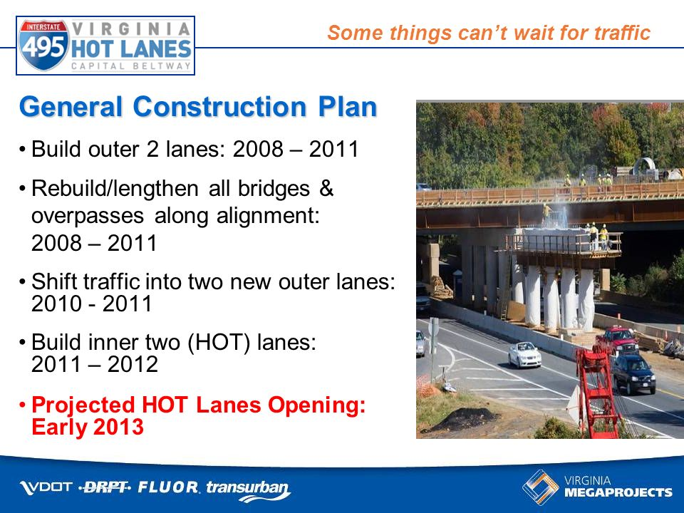 Some things cant wait for traffic Build outer 2 lanes: 2008 – 2011 Rebuild/lengthen all bridges & overpasses along alignment: 2008 – 2011 Shift traffic into two new outer lanes: 2010 - 2011 Build inner two (HOT) lanes: 2011 – 2012 Projected HOT Lanes Opening: Early 2013 General Construction Plan