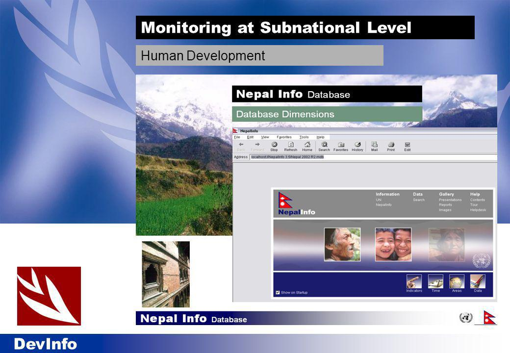 DevInfo Monitoring at Subnational Level Human Development