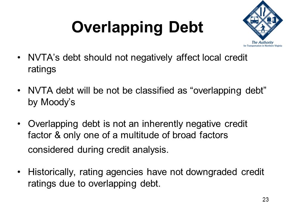 23 Overlapping Debt NVTAs debt should not negatively affect local credit ratings NVTA debt will be not be classified as overlapping debt by Moodys Overlapping debt is not an inherently negative credit factor & only one of a multitude of broad factors considered during credit analysis.
