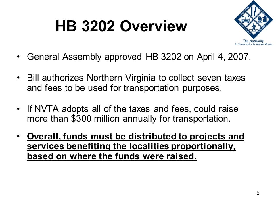 5 HB 3202 Overview General Assembly approved HB 3202 on April 4, 2007.