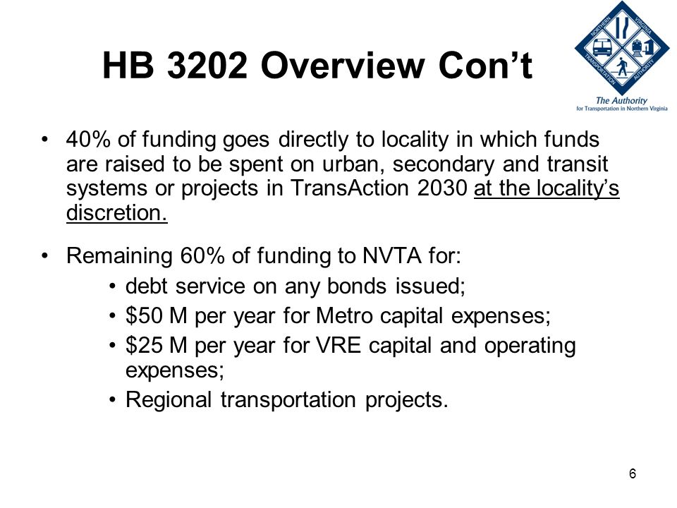 6 HB 3202 Overview Cont 40% of funding goes directly to locality in which funds are raised to be spent on urban, secondary and transit systems or projects in TransAction 2030 at the localitys discretion.
