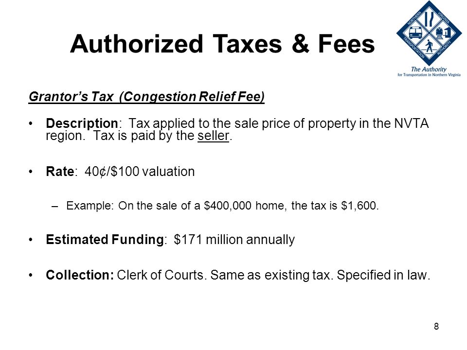 8 Grantors Tax (Congestion Relief Fee) Description: Tax applied to the sale price of property in the NVTA region.