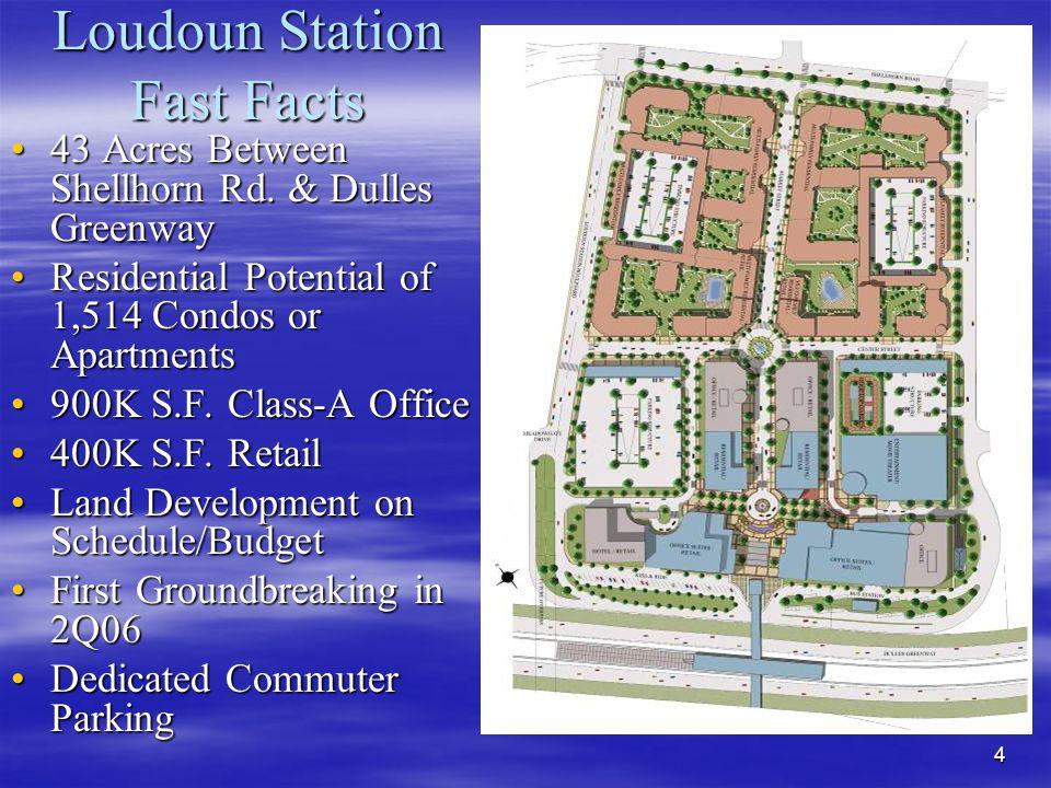 4 Loudoun Station Fast Facts 43 Acres Between Shellhorn Rd.