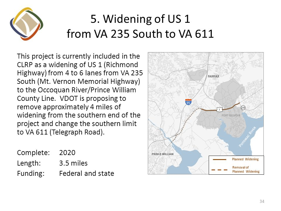 5. Widening of US 1 from VA 235 South to VA 611 This project is currently included in the CLRP as a widening of US 1 (Richmond Highway) from 4 to 6 la