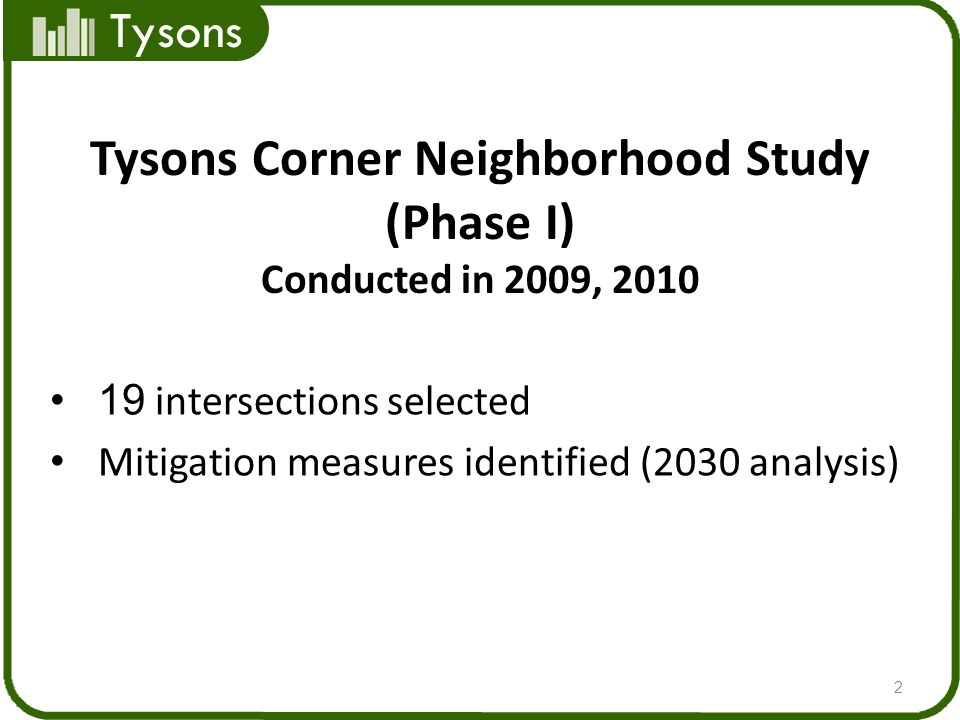 Tysons Corner Neighborhood Study (Phase I) Conducted in 2009, 2010 19 intersections selected Mitigation measures identified (2030 analysis) 2