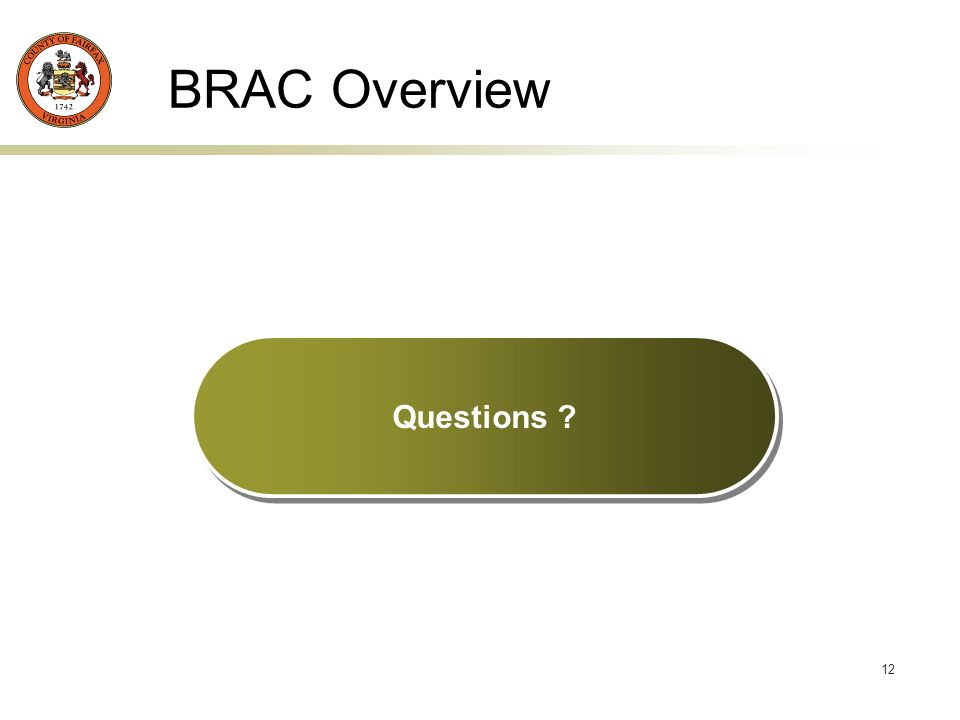 12 BRAC Overview Questions