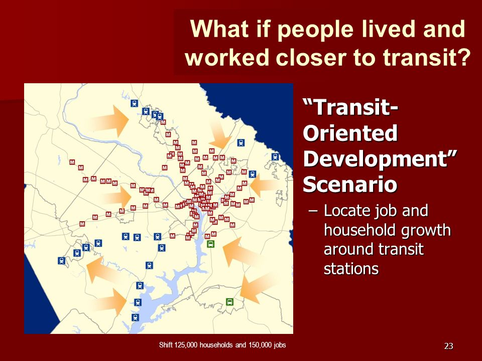 23 Shift 125,000 households and 150,000 jobs Transit- Oriented Development Scenario –Locate job and household growth around transit stations What if p