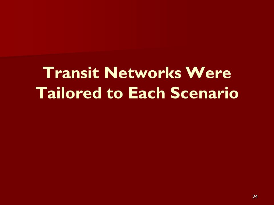 24 Transit Networks Were Tailored to Each Scenario