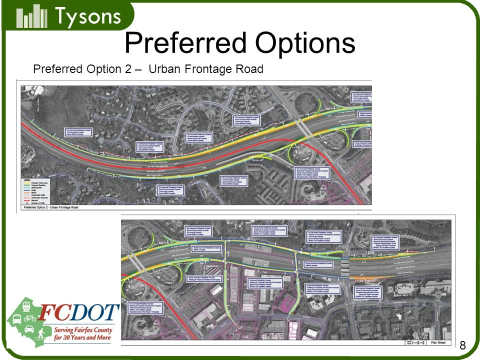 Tysons Preferred Options 8 Preferred Option 2 – Urban Frontage Road