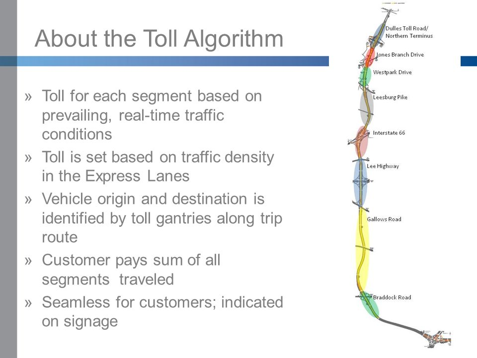 Click to edit Master title style »Click to edit Master text styles –Second level Third level –Fourth level Fifth level About the Toll Algorithm »Toll for each segment based on prevailing, real-time traffic conditions »Toll is set based on traffic density in the Express Lanes »Vehicle origin and destination is identified by toll gantries along trip route »Customer pays sum of all segments traveled »Seamless for customers; indicated on signage