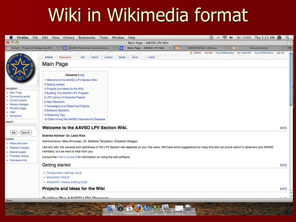 Wiki in Wikimedia format