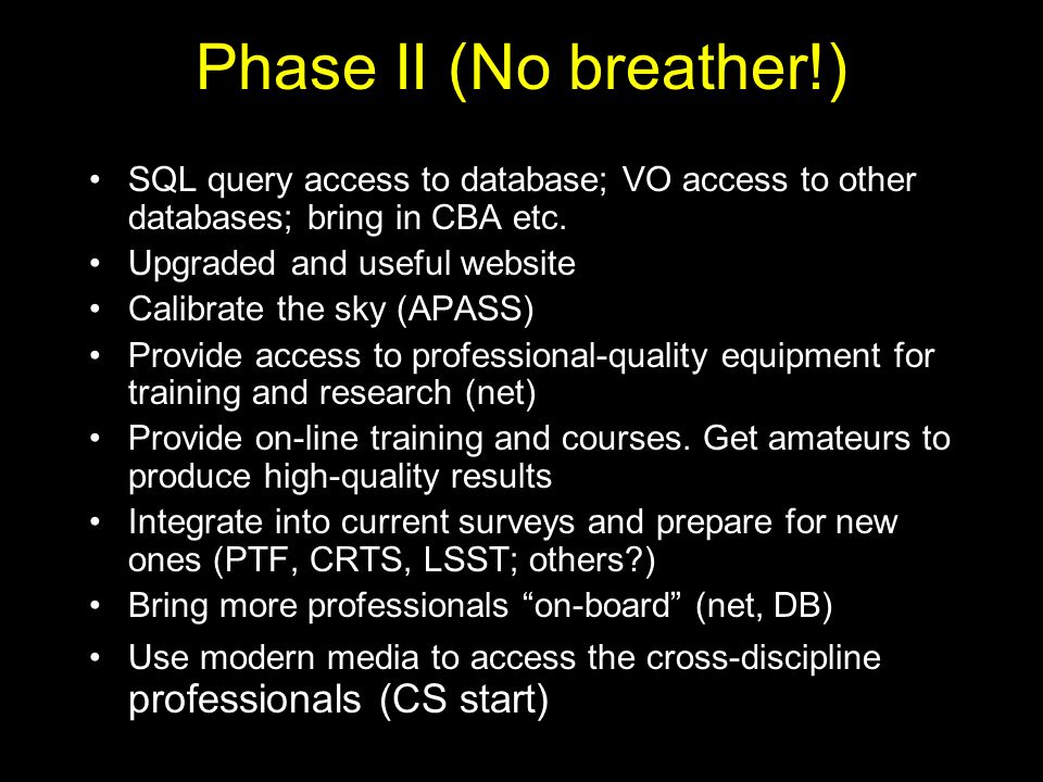 Phase II (No breather!) SQL query access to database; VO access to other databases; bring in CBA etc.