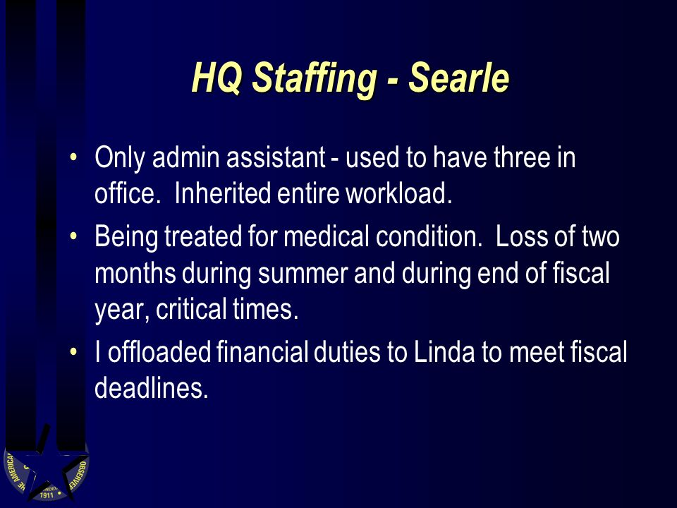 HQ Staffing - Searle Only admin assistant - used to have three in office.