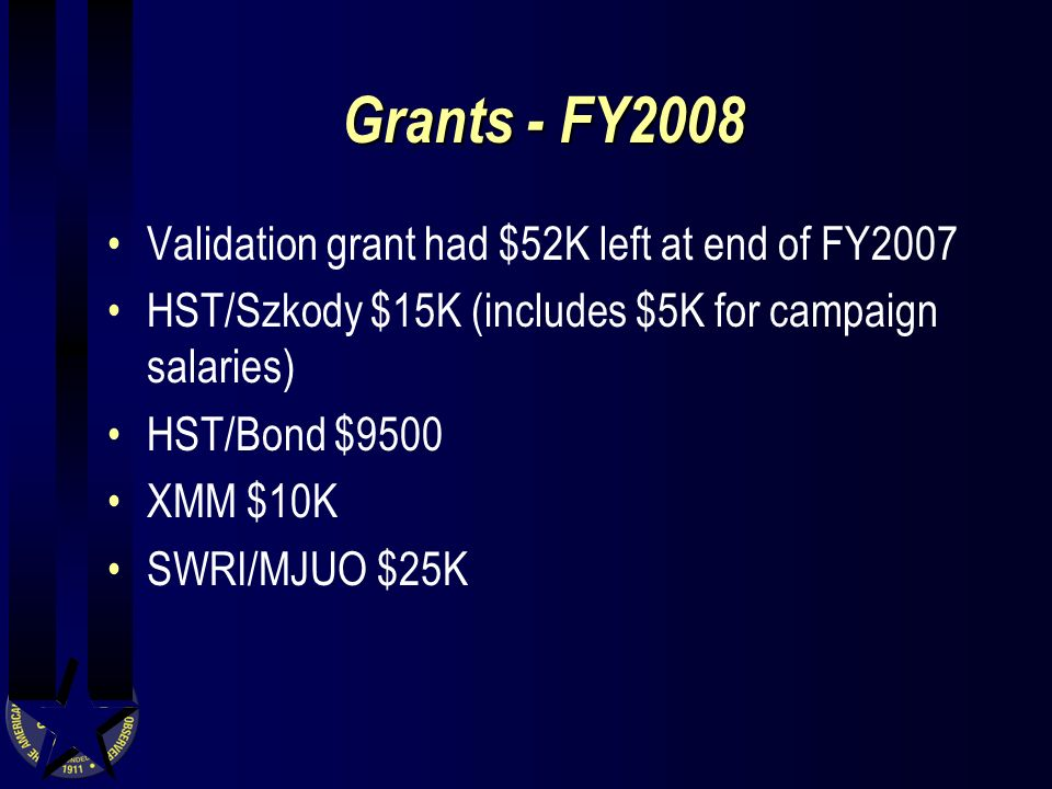 Grants - FY2008 Validation grant had $52K left at end of FY2007 HST/Szkody $15K (includes $5K for campaign salaries) HST/Bond $9500 XMM $10K SWRI/MJUO $25K