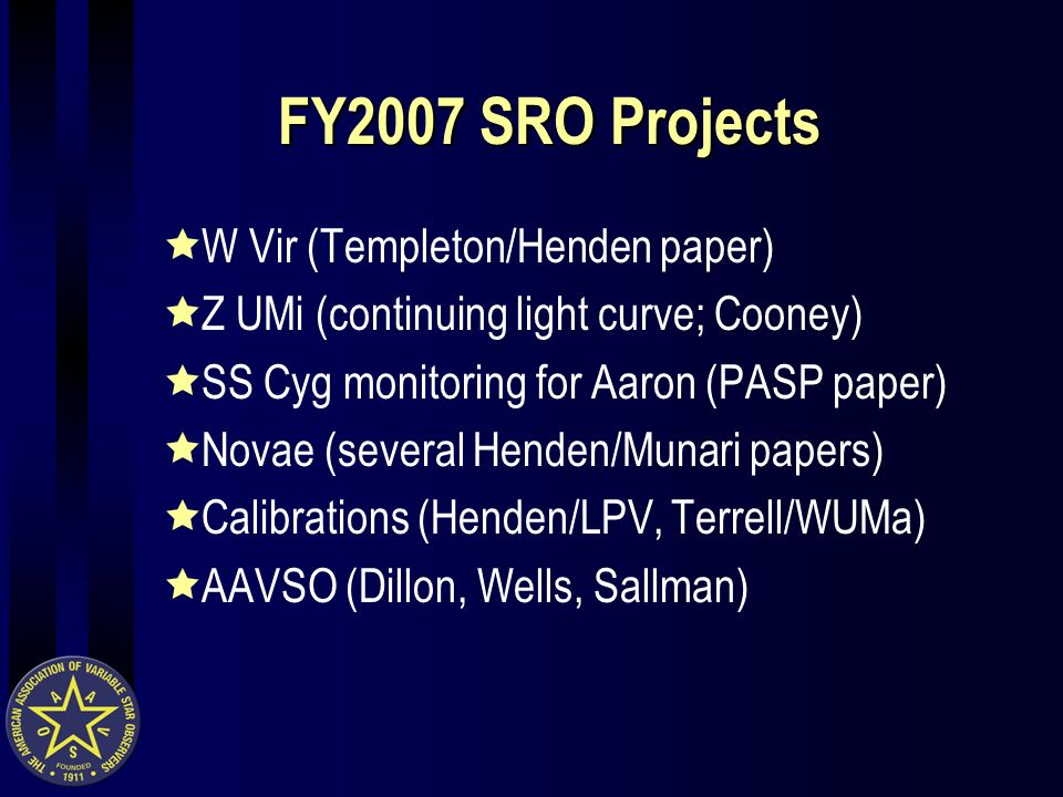 FY2007 SRO Projects W Vir (Templeton/Henden paper) Z UMi (continuing light curve; Cooney) SS Cyg monitoring for Aaron (PASP paper) Novae (several Henden/Munari papers) Calibrations (Henden/LPV, Terrell/WUMa) AAVSO (Dillon, Wells, Sallman)
