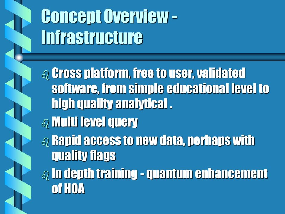 Concept Overview - Infrastructure b Cross platform, free to user, validated software, from simple educational level to high quality analytical. b Mult