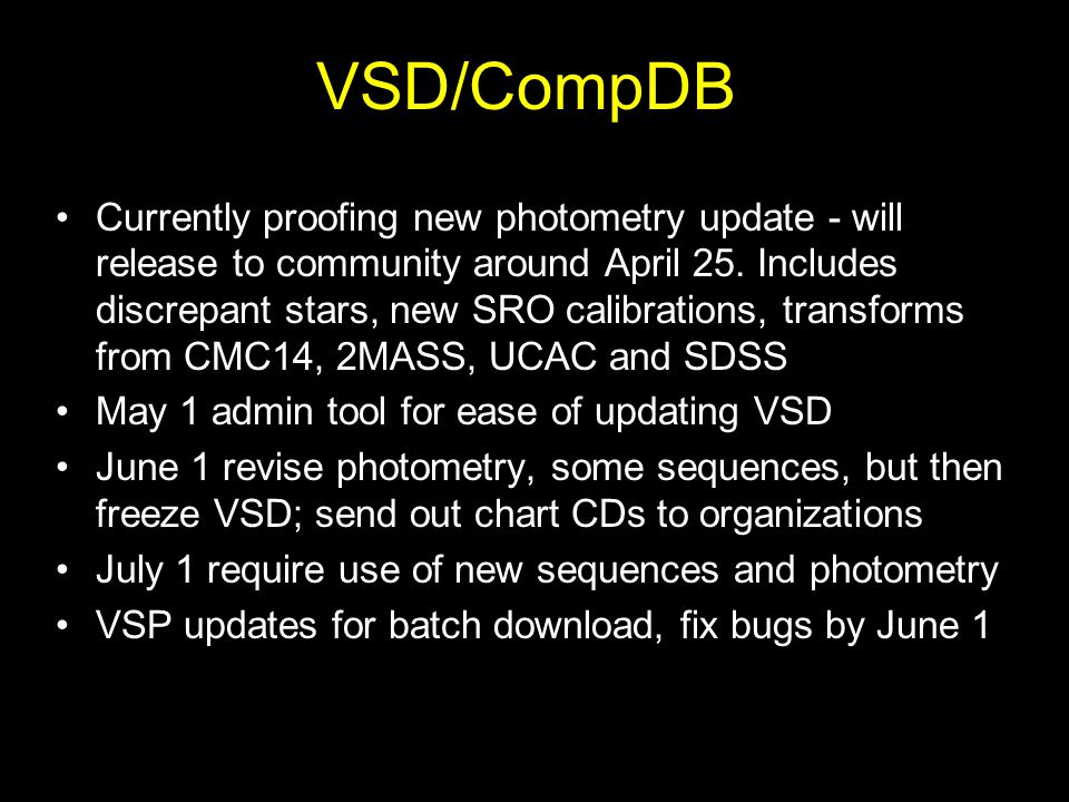 VSD/CompDB Currently proofing new photometry update - will release to community around April 25.