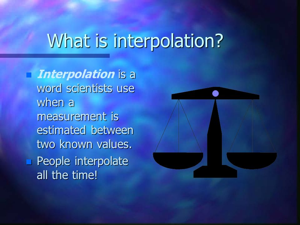 What is interpolation.