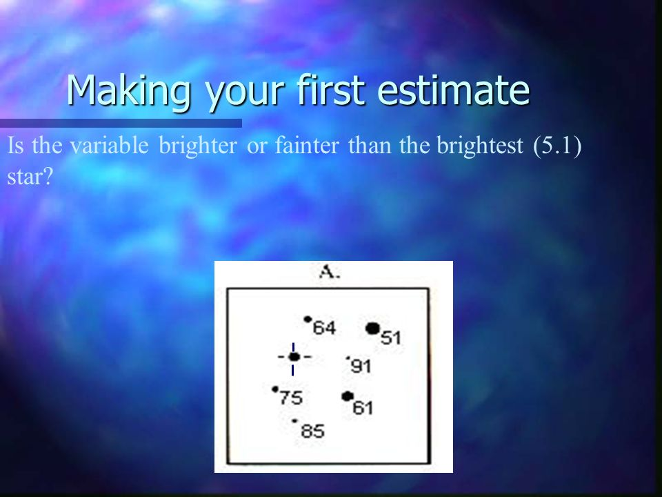 Making your first estimate Is the variable brighter or fainter than the brightest (5.1) star