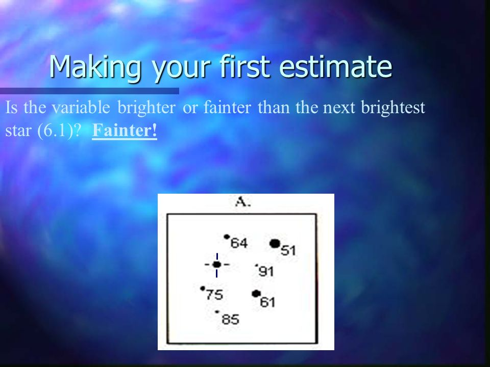 Making your first estimate Is the variable brighter or fainter than the next brightest star (6.1).