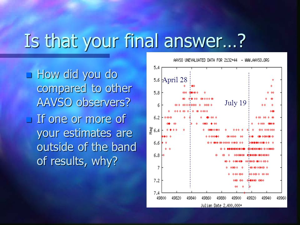 Is that your final answer…. n How did you do compared to other AAVSO observers.