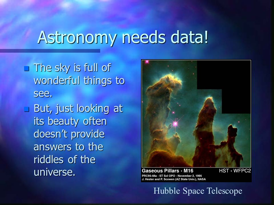 Astronomy needs data. n The sky is full of wonderful things to see.
