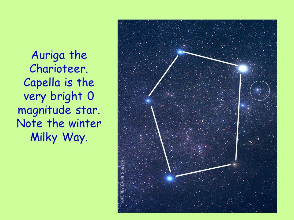 Auriga the Charioteer. Capella is the very bright 0 magnitude star. Note the winter Milky Way.