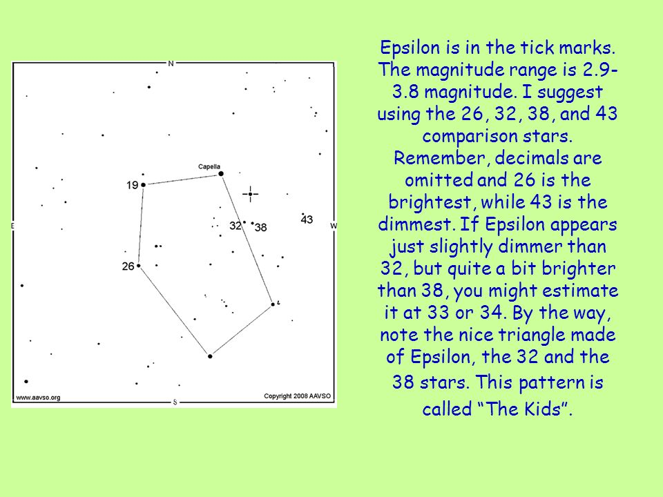 Epsilon is in the tick marks. The magnitude range is 2.9- 3.8 magnitude.