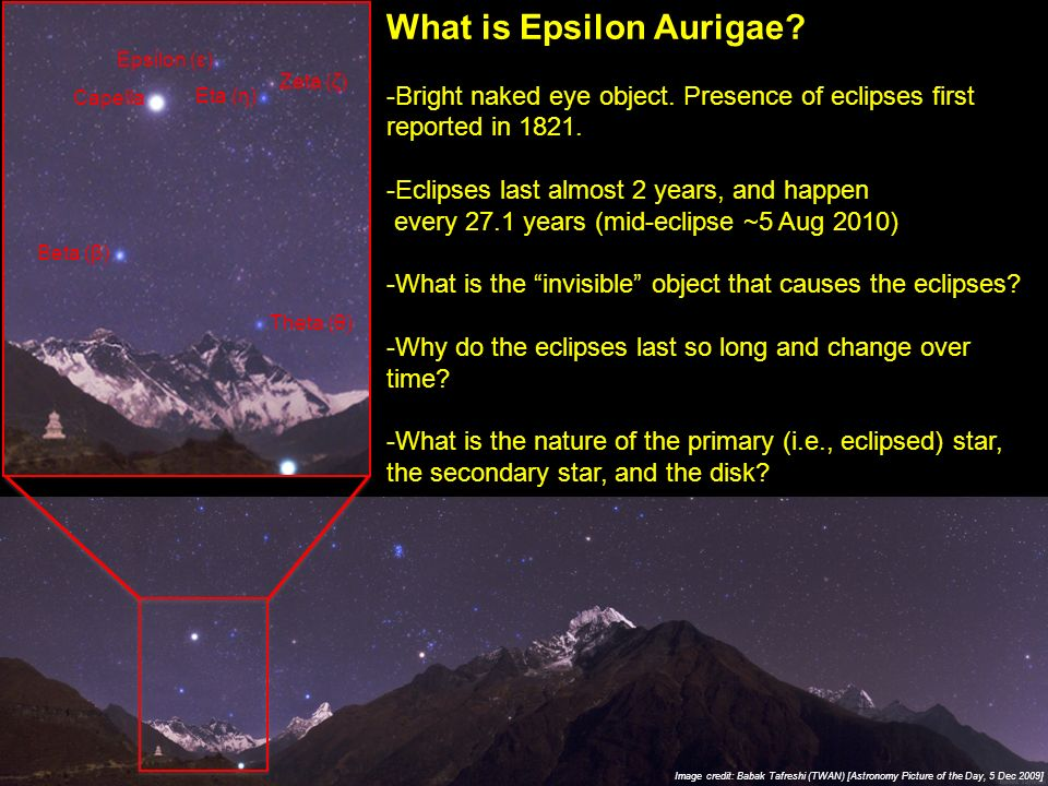 Image credit: Babak Tafreshi (TWAN) [Astronomy Picture of the Day, 5 Dec 2009] What is Epsilon Aurigae.