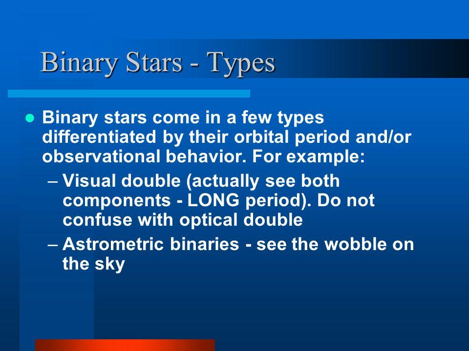 Binary Stars - Types An astrometric and visual binary: Sirius A&B -- an A star (A) and a white dwarf (B) Has a ~50 year orbit.