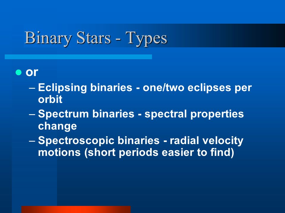 Binary Stars - Types or –Eclipsing binaries - one/two eclipses per orbit –Spectrum binaries - spectral properties change –Spectroscopic binaries - radial velocity motions (short periods easier to find)