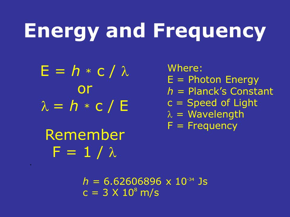 Energy and Frequency. E = h * c / or = h * c / E Remember F = 1 / h = 6.62606896 x 10 -34 Js c = 3 X 10 8 m/s Where: E = Photon Energy h = Plancks Con