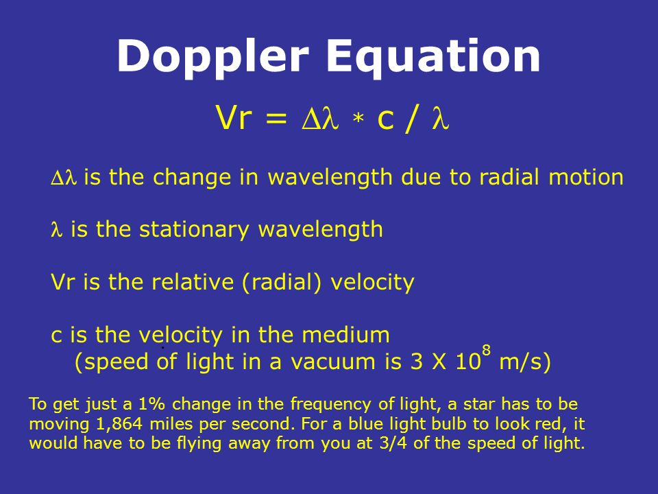 Doppler Equation. is the change in wavelength due to radial motion is the stationary wavelength Vr is the relative (radial) velocity c is the velocity