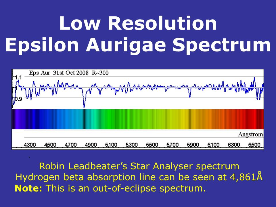Low Resolution Epsilon Aurigae Spectrum. Robin Leadbeaters Star Analyser spectrum Hydrogen beta absorption line can be seen at 4,861Å Note: This is an
