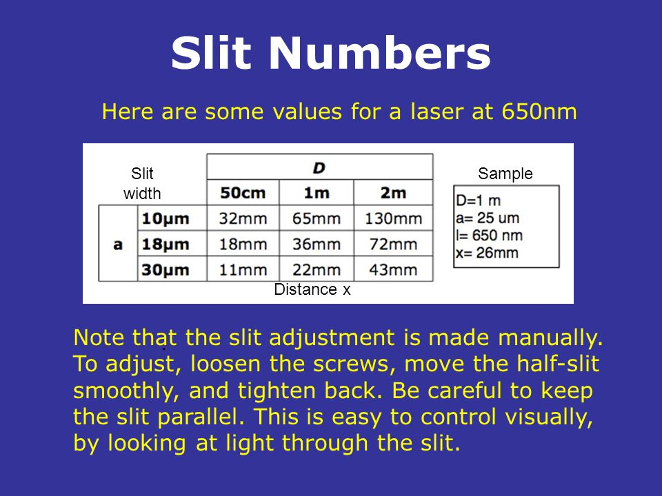 Slit Numbers. Here are some values for a laser at 650nm Note that the slit adjustment is made manually. To adjust, loosen the screws, move the half-sl