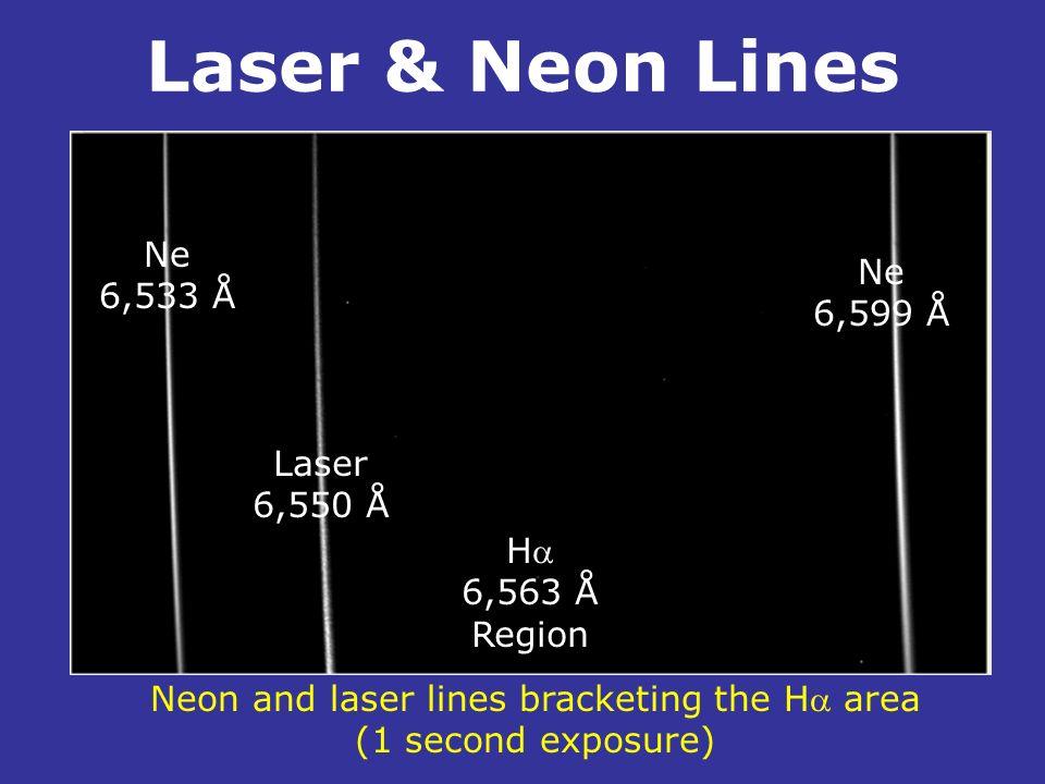Laser & Neon Lines. Ne 6,533 Å Laser 6,550 Å Ne 6,599 Å H 6,563 Å Region Neon and laser lines bracketing the H area (1 second exposure)