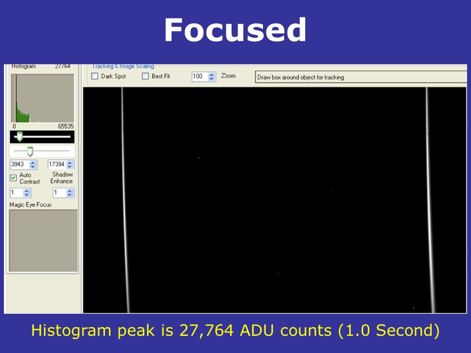 Focused. Histogram peak is 27,764 ADU counts (1.0 Second)