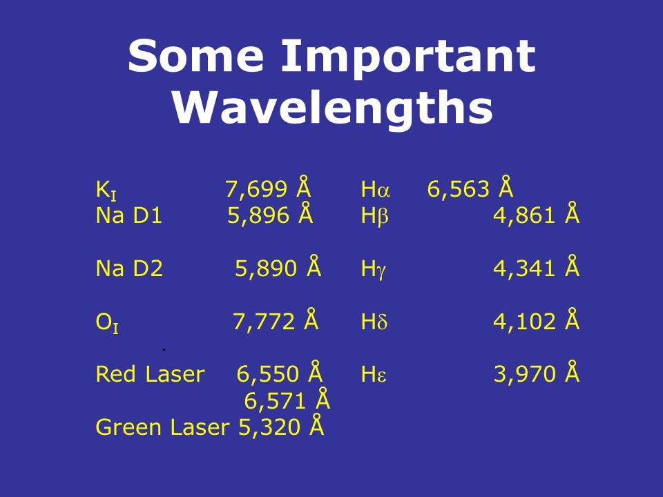 Some Important Wavelengths. K I 7,699 ÅH 6,563 Å Na D1 5,896 ÅH4,861 Å Na D2 5,890 ÅH4,341 Å O I 7,772 ÅH4,102 Å Red Laser 6,550 ÅH3,970 Å 6,571 Å Gre