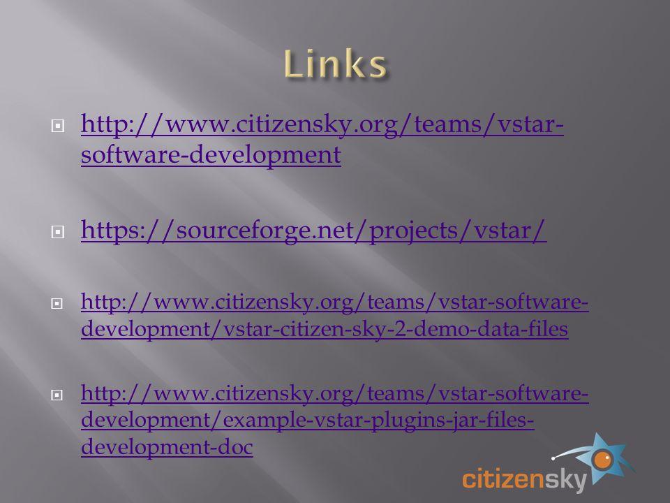 http://www.citizensky.org/teams/vstar- software-development http://www.citizensky.org/teams/vstar- software-development https://sourceforge.net/projects/vstar/ http://www.citizensky.org/teams/vstar-software- development/vstar-citizen-sky-2-demo-data-files http://www.citizensky.org/teams/vstar-software- development/vstar-citizen-sky-2-demo-data-files http://www.citizensky.org/teams/vstar-software- development/example-vstar-plugins-jar-files- development-doc http://www.citizensky.org/teams/vstar-software- development/example-vstar-plugins-jar-files- development-doc