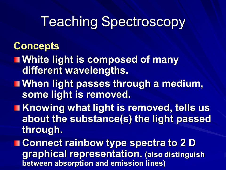 Teaching Spectroscopy Concepts White light is composed of many different wavelengths.