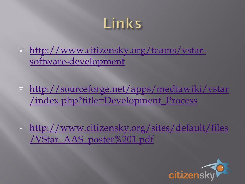 http://www.citizensky.org/teams/vstar- software-development http://www.citizensky.org/teams/vstar- software-development http://sourceforge.net/apps/mediawiki/vstar /index.php title=Development_Process http://sourceforge.net/apps/mediawiki/vstar /index.php title=Development_Process http://www.citizensky.org/sites/default/files /VStar_AAS_poster%201.pdf http://www.citizensky.org/sites/default/files /VStar_AAS_poster%201.pdf