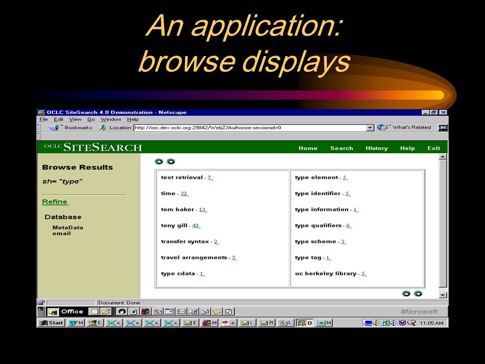 An application: browse displays