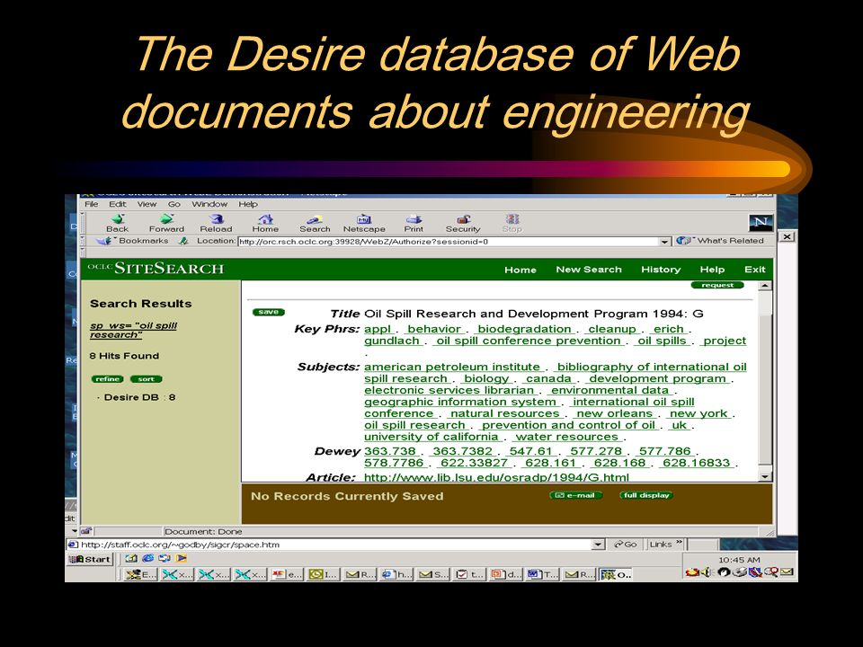 The Desire database of Web documents about engineering