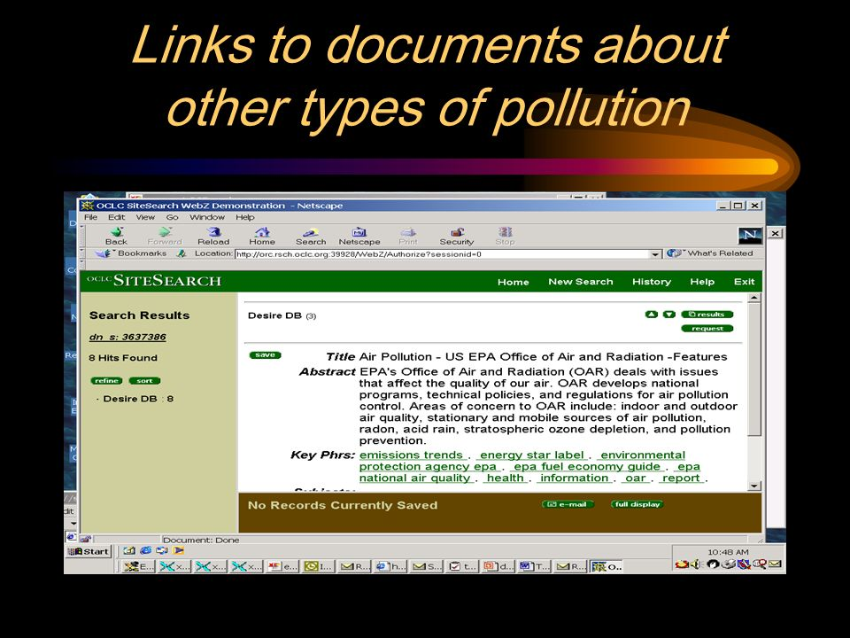 Links to documents about other types of pollution